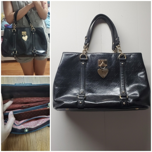 Love cat black hand or shoulder bag